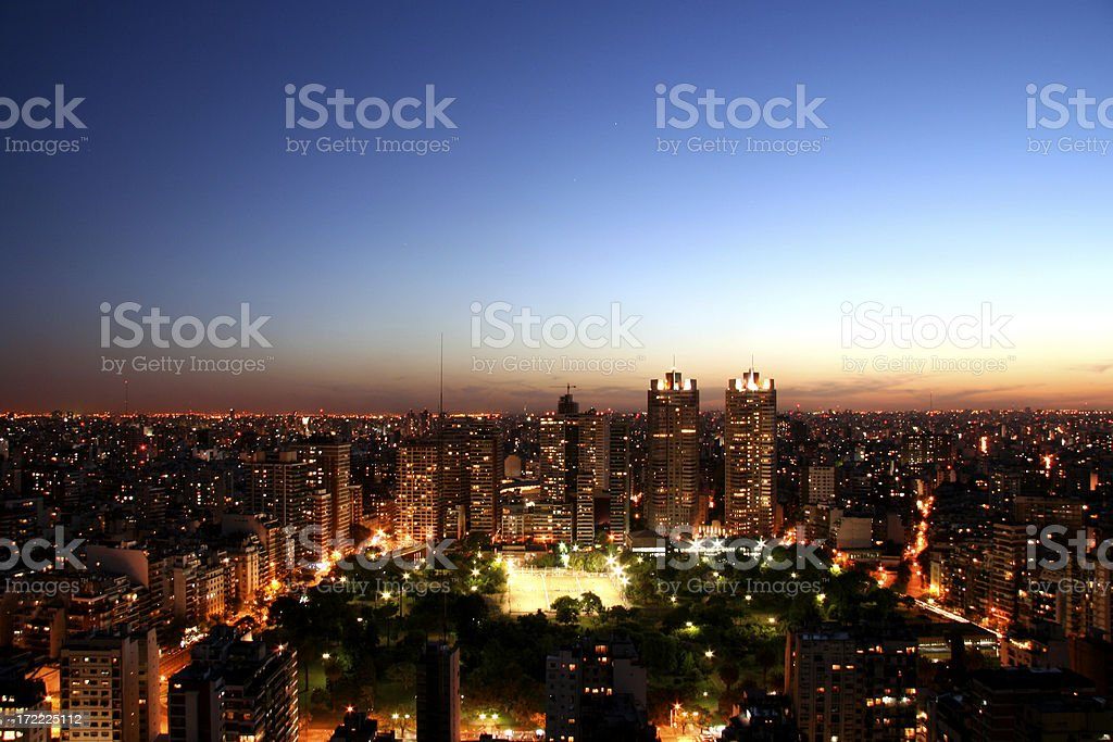Sky view of Buenos Aires City during Sunrise royalty-free stock photo