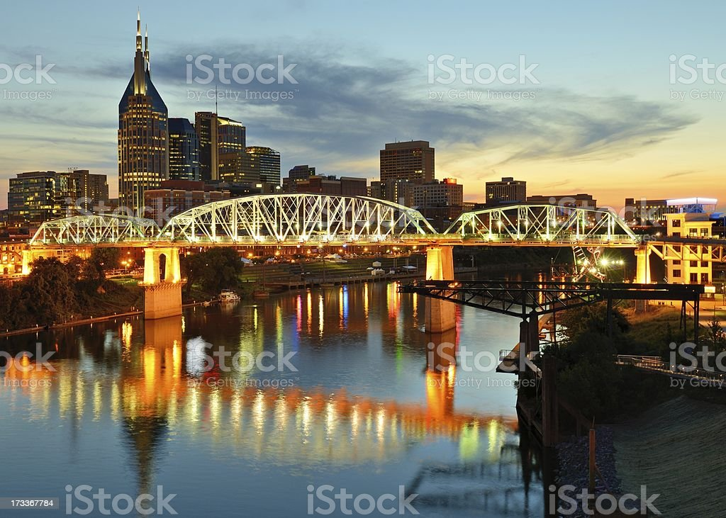 Sky view of downtown Nashville, Tennessee stock photo