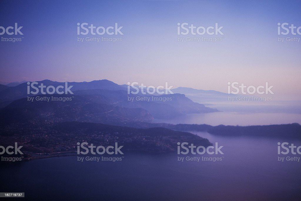 sky view out of airplane above Cannes royalty-free stock photo