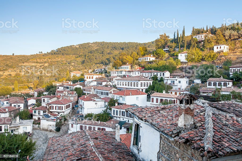 Sky View over the turkish village of Sirince stock photo