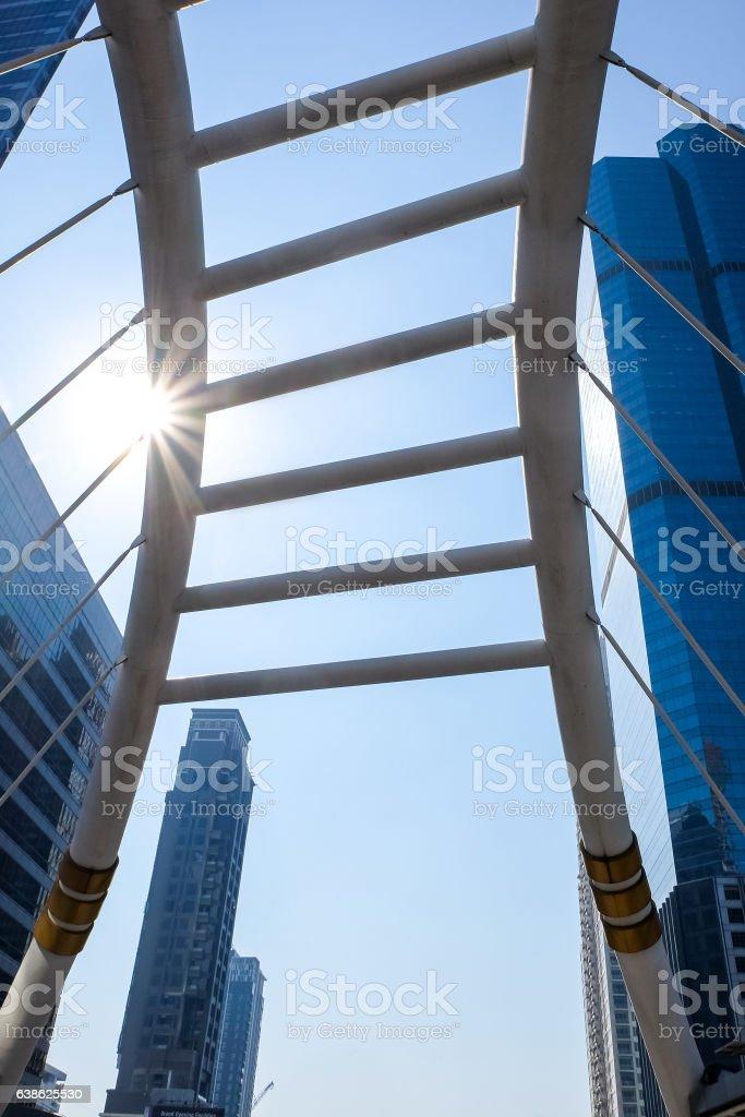 Sky walk at Bangkok downtown square stock photo