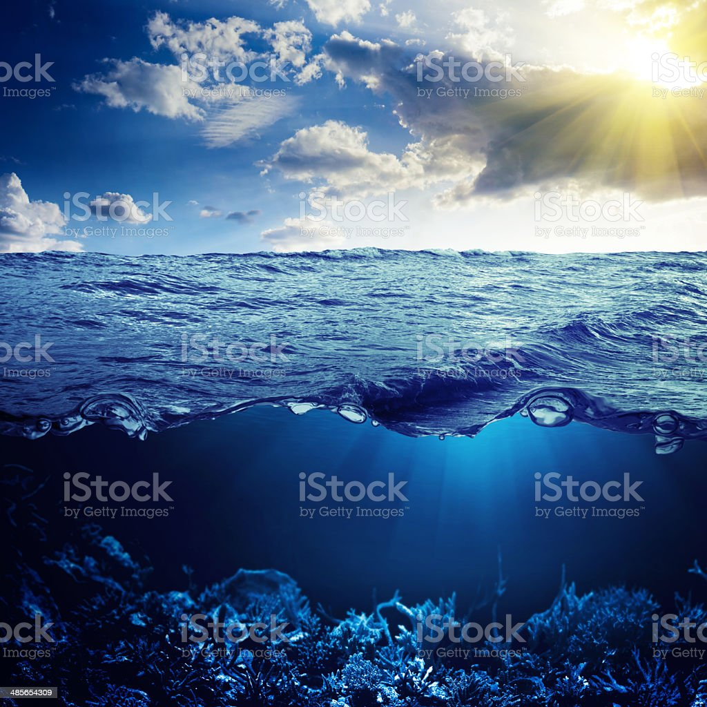 Sky, waterline and underwater background royalty-free stock photo