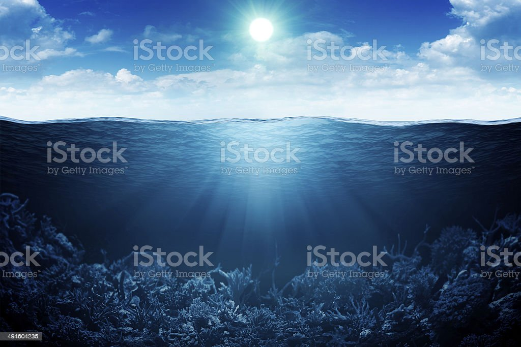 Sky, waterline and underwater background stock photo
