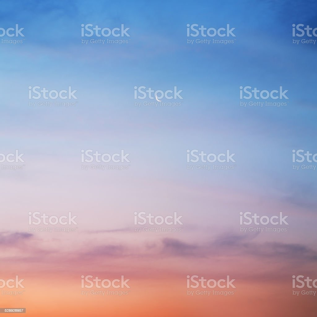 sky with a crescent stock photo
