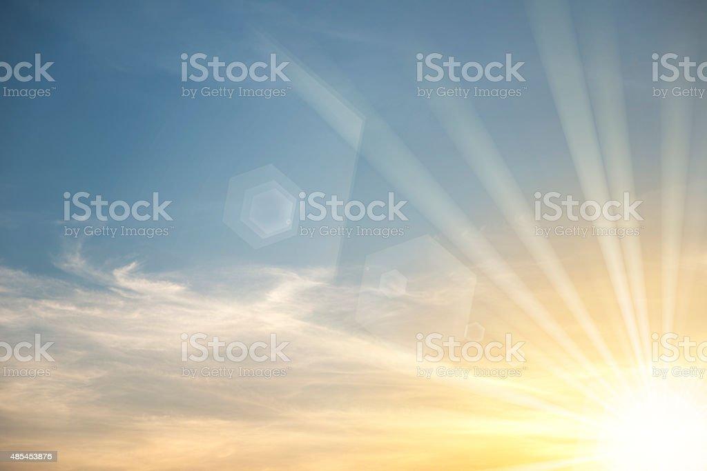 Sky with bright sun star stock photo