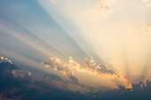 Sky with clouds at sunray