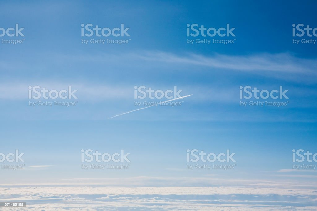 sky with clouds from above stock photo