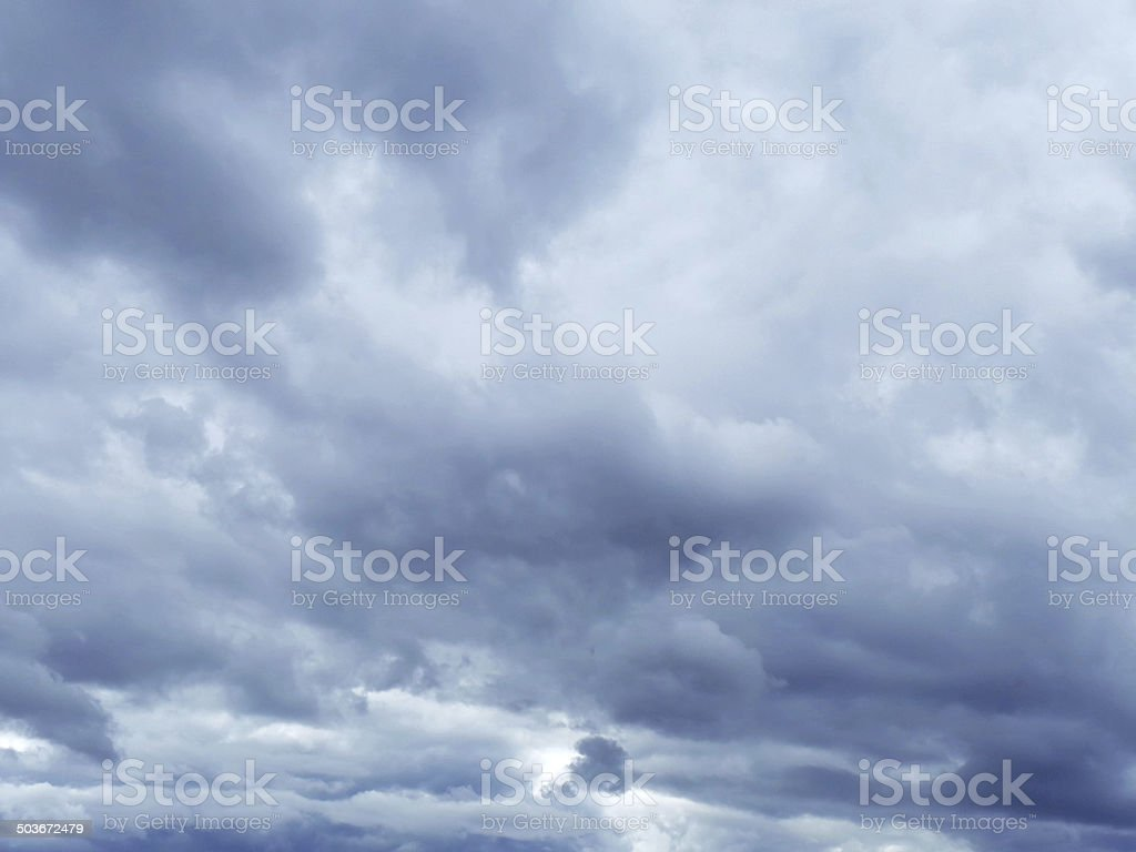 Sky with dark blue clouds stock photo