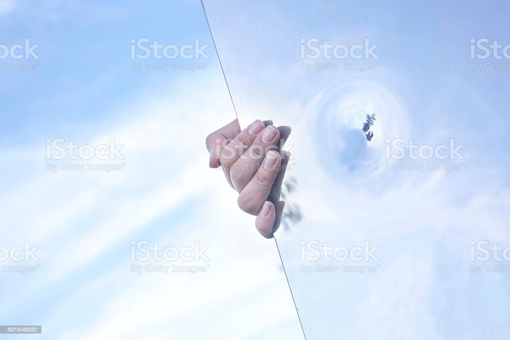 sky with hand stock photo