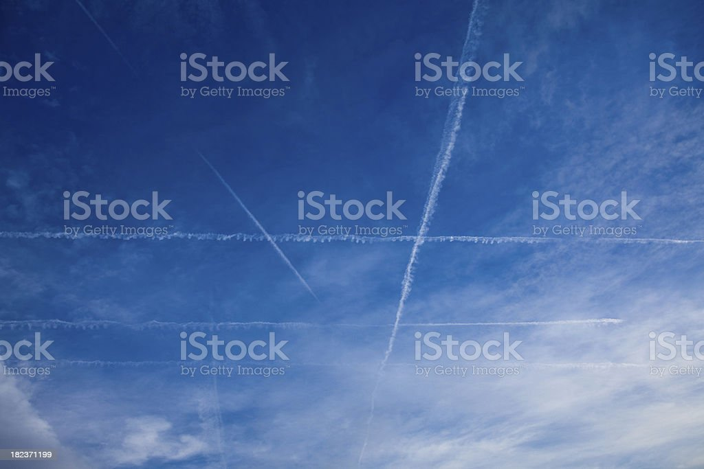 Sky with vapor trails royalty-free stock photo