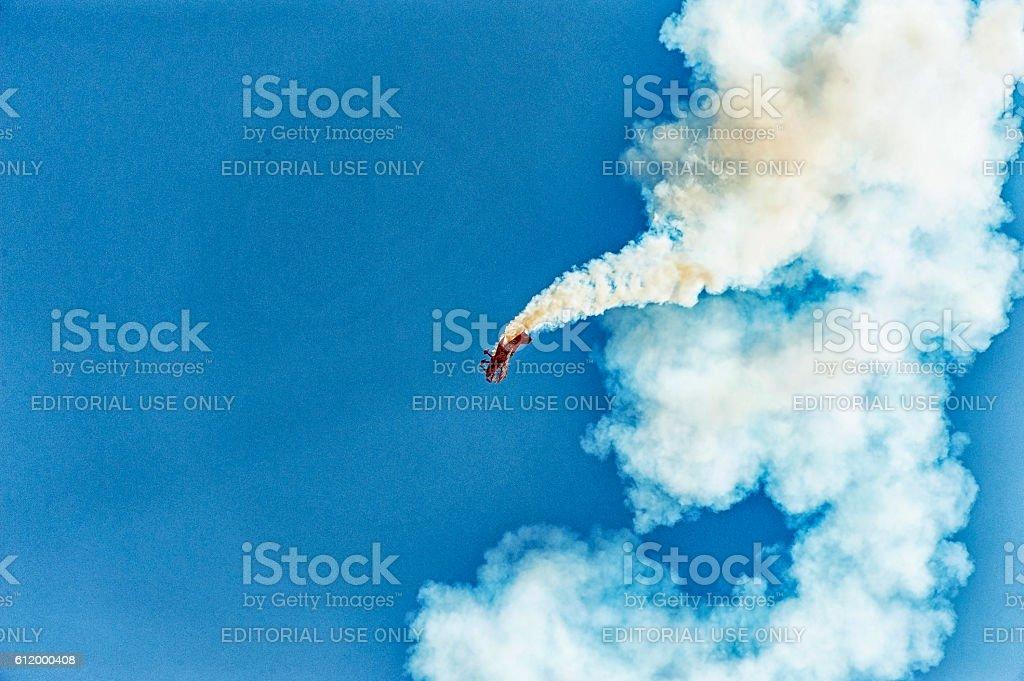 Sky Writer This pilot puts the plane through manuvers stock photo