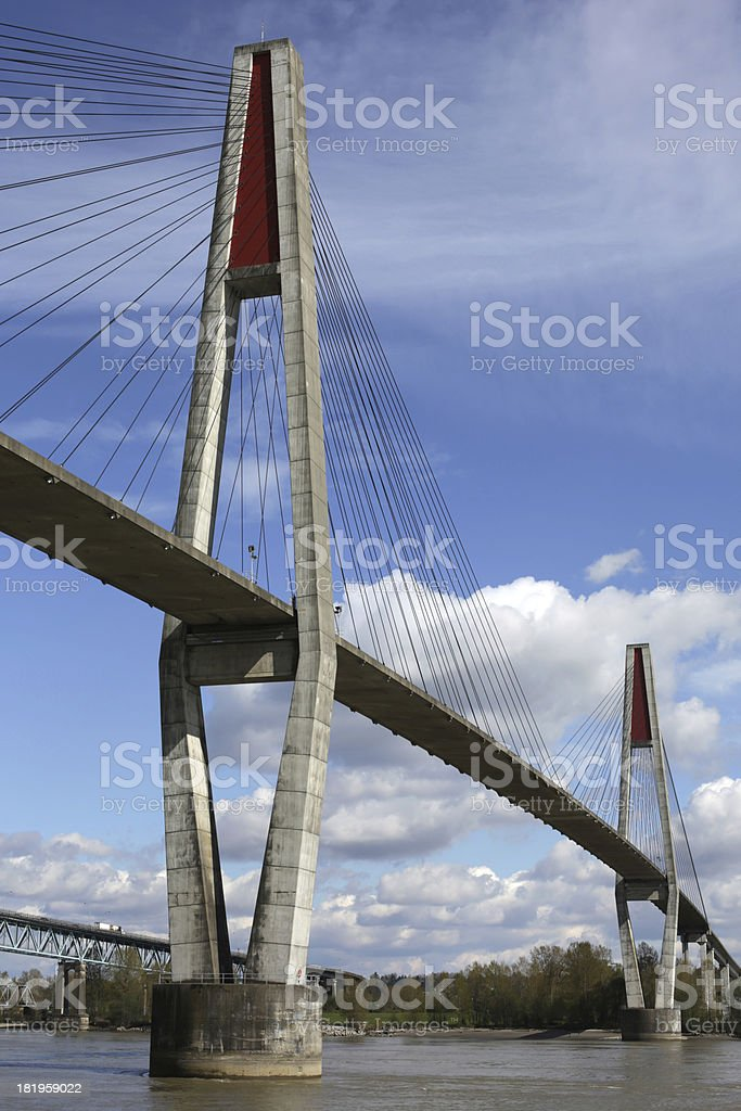 SkyBridge above the Fraser River, British Columbia, Canada in Spring stock photo