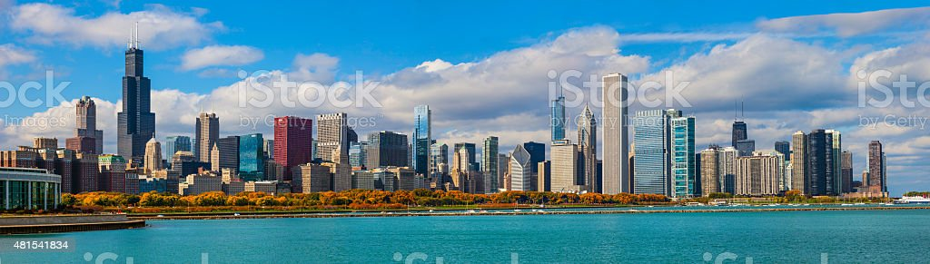 Skycraper of Chicago Skyline Panorama, ILL stock photo