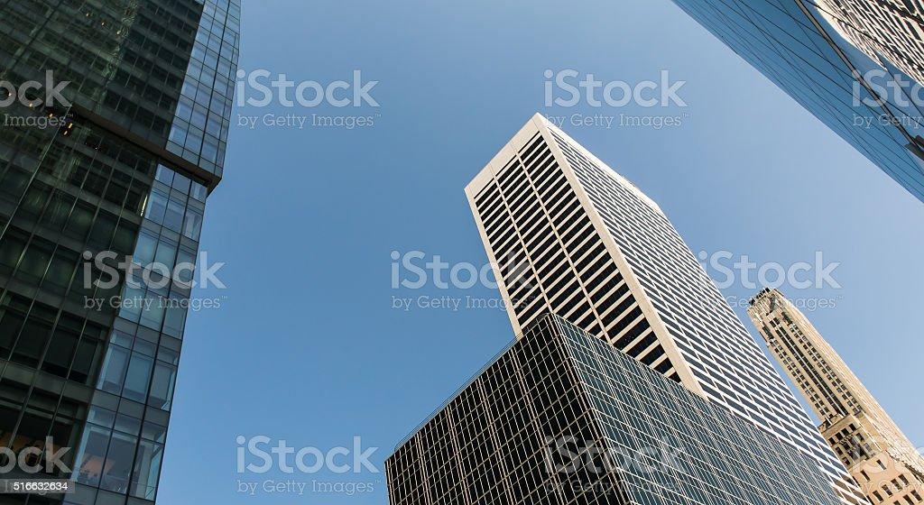 Skycsreaper over blue sky stock photo