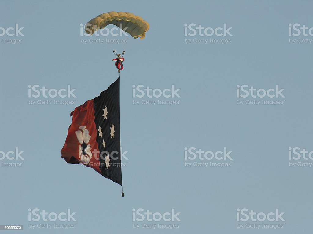 Skydiver and Northern Territory flag stock photo