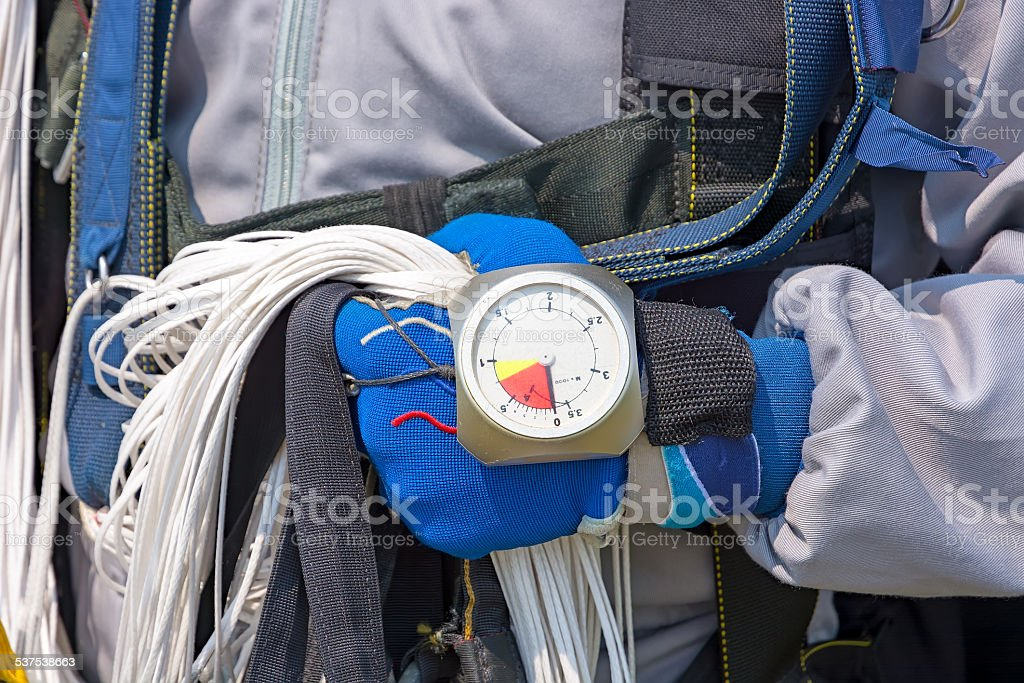 Skydiver hand in glove close-up. stock photo