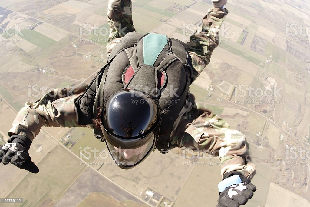 Skydiver in freefall - skydive royalty-free stock photo