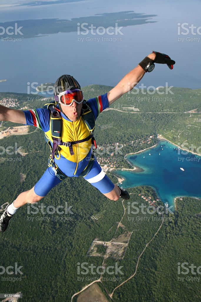 Skydiver in the air-Losinj Island-Croatia royalty-free stock photo