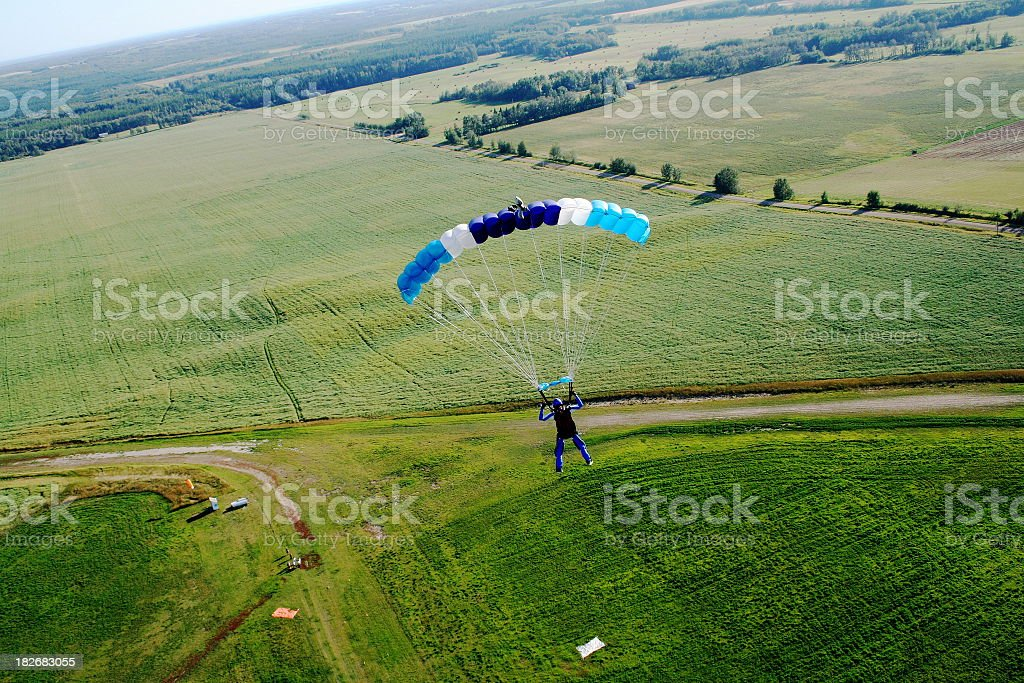 Skydiver landing - skydive royalty-free stock photo