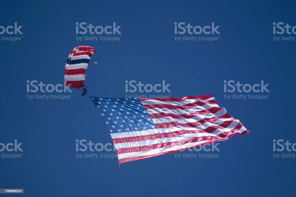 Skydiver with American Flag royalty-free stock photo