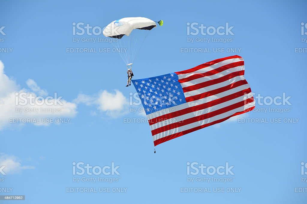 Skydiver with the American Flag stock photo