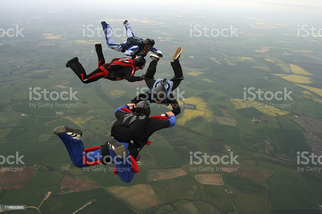 Skydivers doing formations royalty-free stock photo