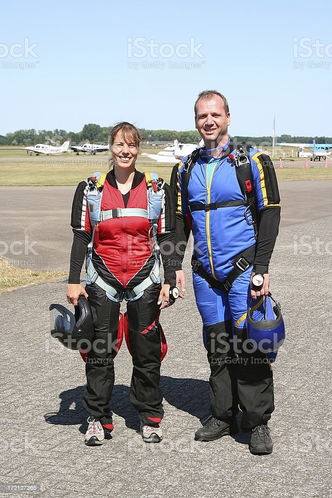 Skydivers ready for take-off royalty-free stock photo