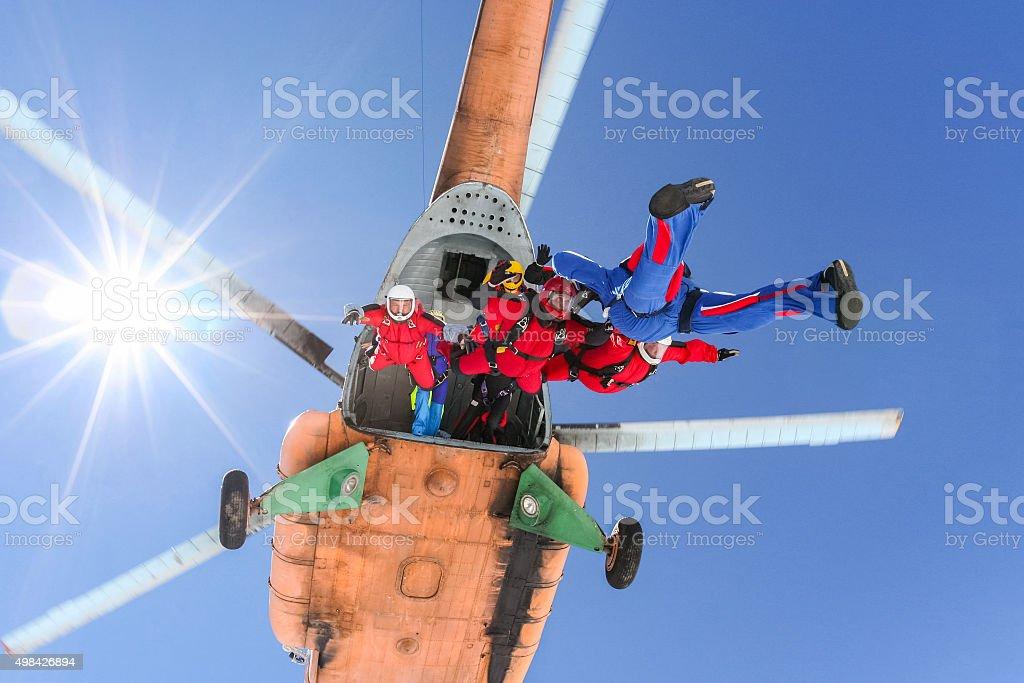 Skydiving photo. stock photo