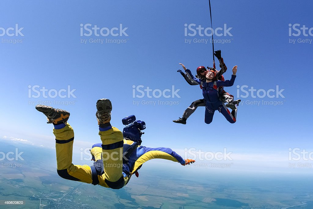 Skydiving photo. Tandem. stock photo