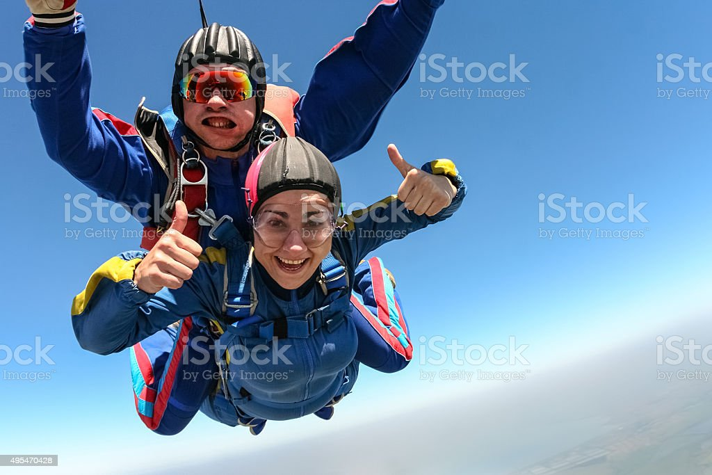 Skydiving photo. Tandem. stock photo
