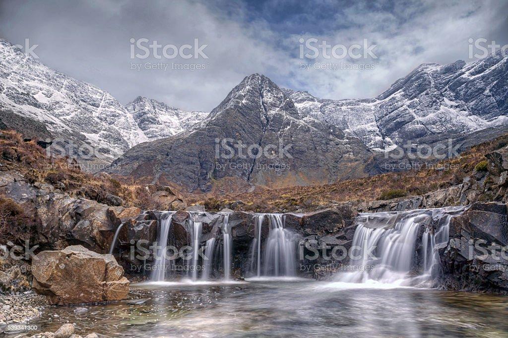Skye Fairy Pools Waterfalls. stock photo