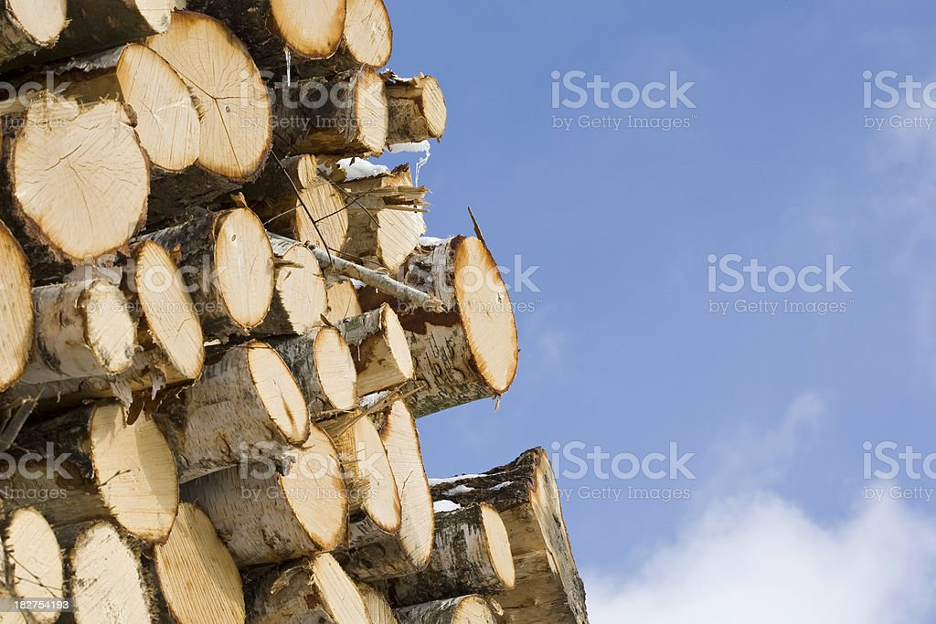 sky-high stack of wood royalty-free stock photo