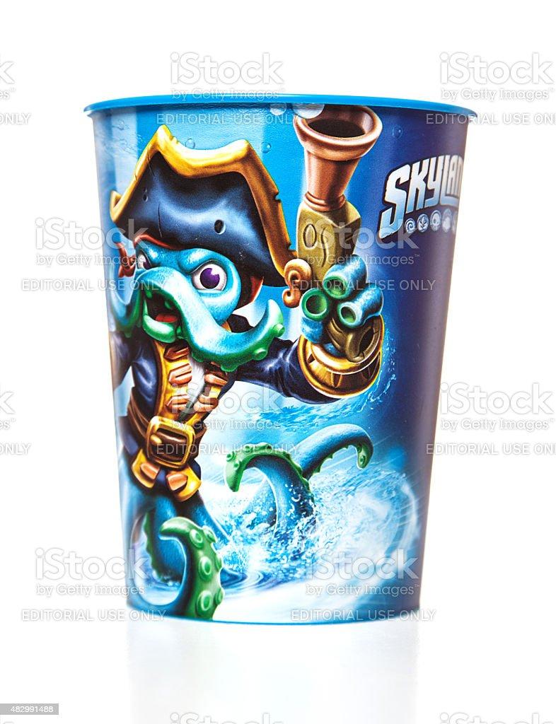 Skylanders Wash Buckler Character plastic cup stock photo