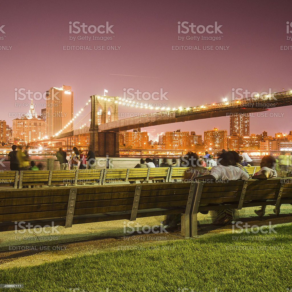 NYC skyline and brooklyn bridge for 4th of july royalty-free stock photo