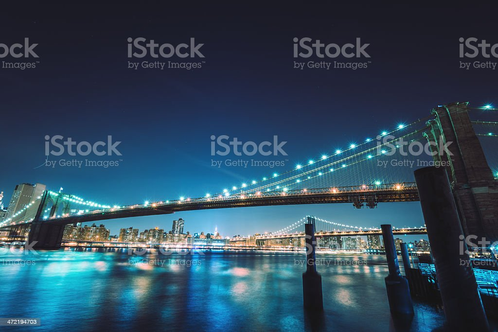 NYC skyline and brooklyn bridge royalty-free stock photo