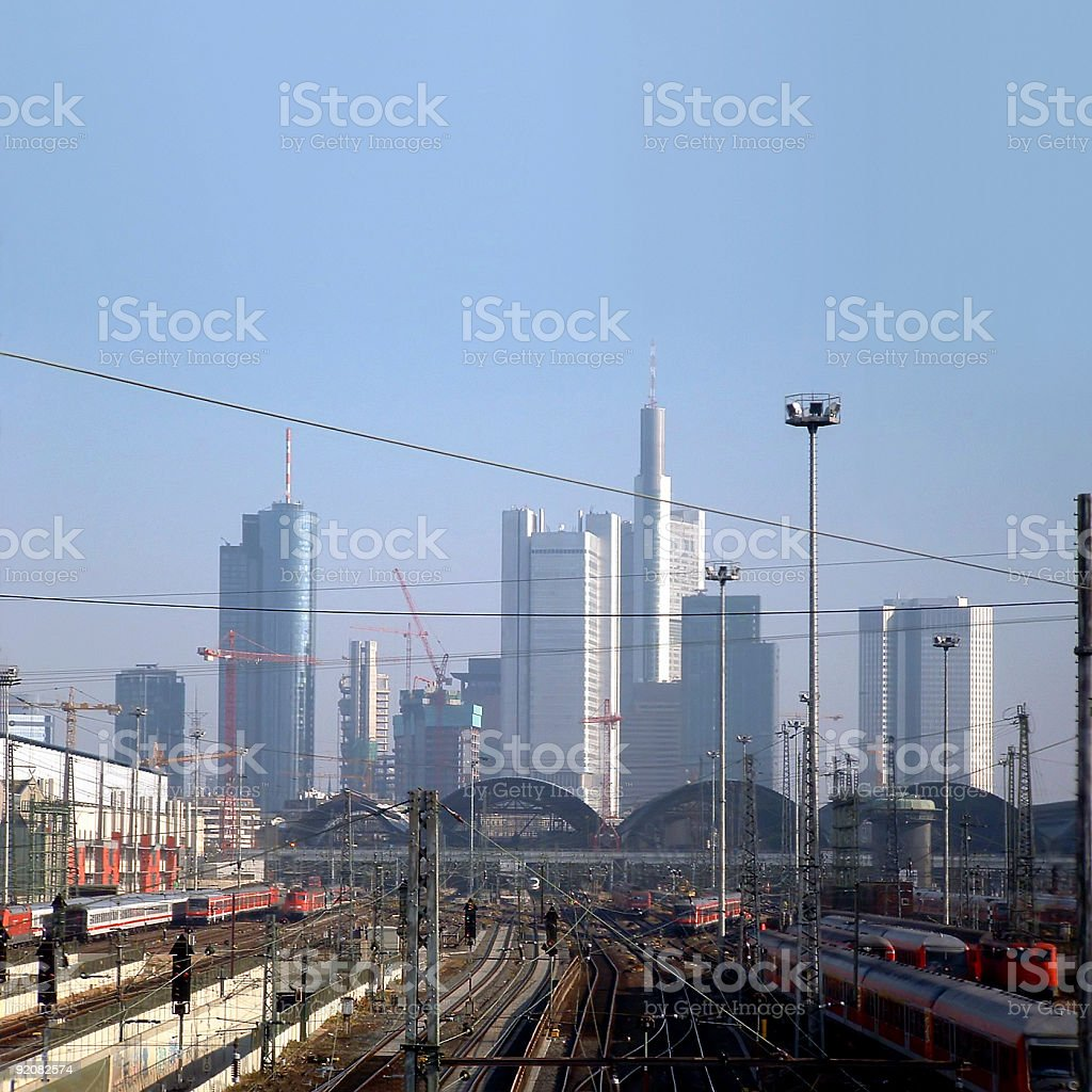 Skyline and central station of Frankfurt, Germany royalty-free stock photo