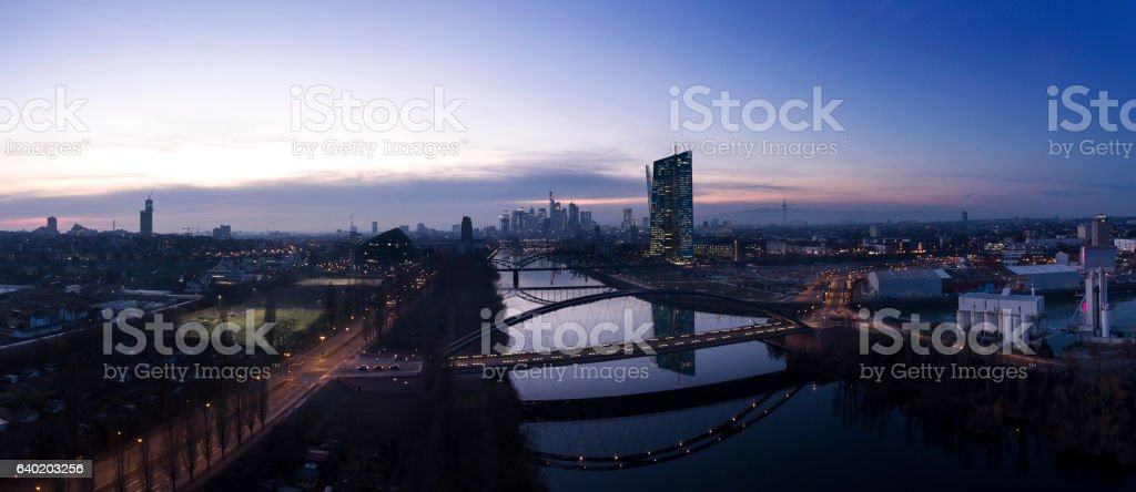 Skyline and Eastend Frankfurt at dusk - panoramic aerial view stock photo