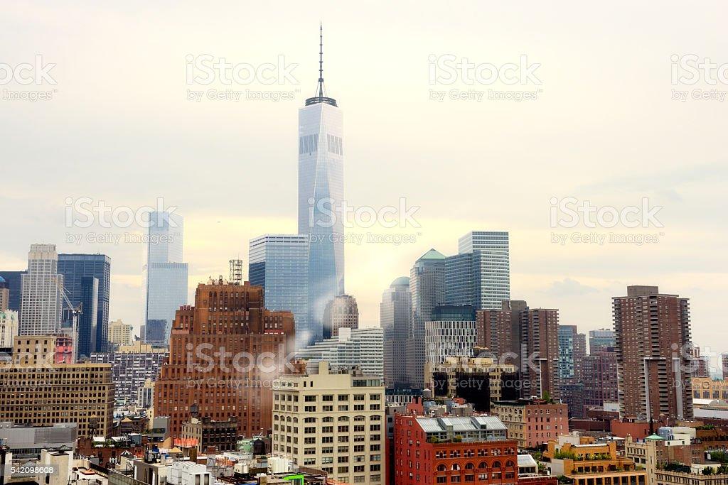 Skyline and Freedom Tower, NYC stock photo