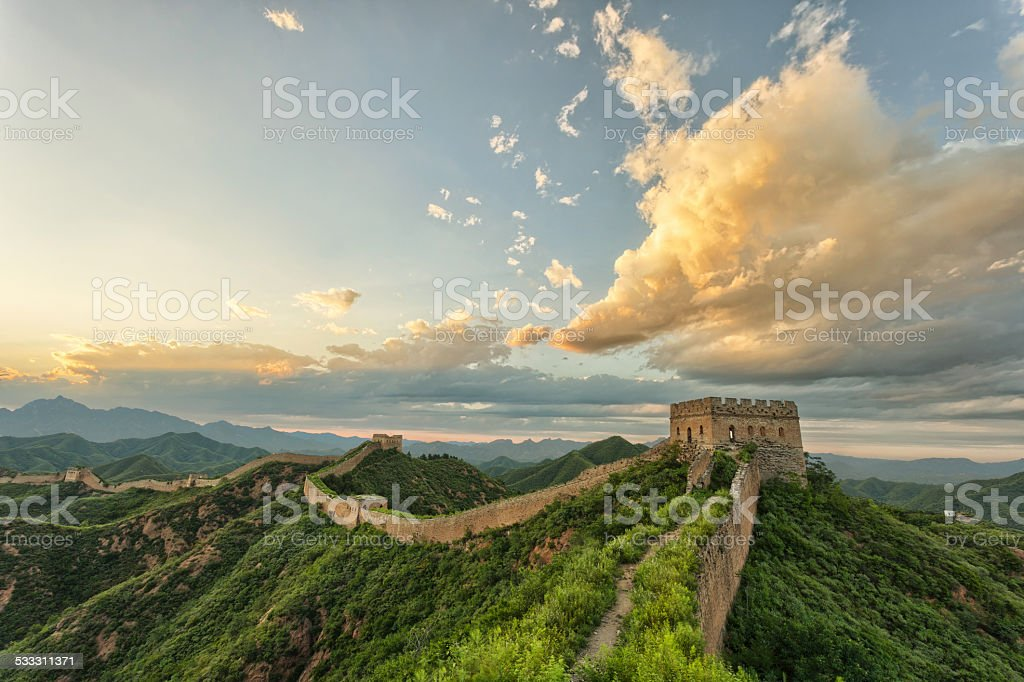 skyline and great wall stock photo