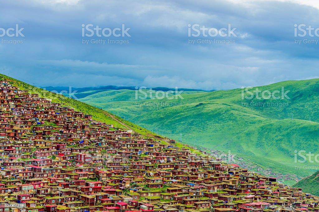 skyline and huge  tibetan residence stock photo
