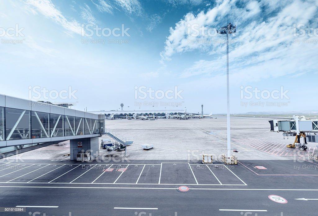 skyline and landscape of airport ramp stock photo
