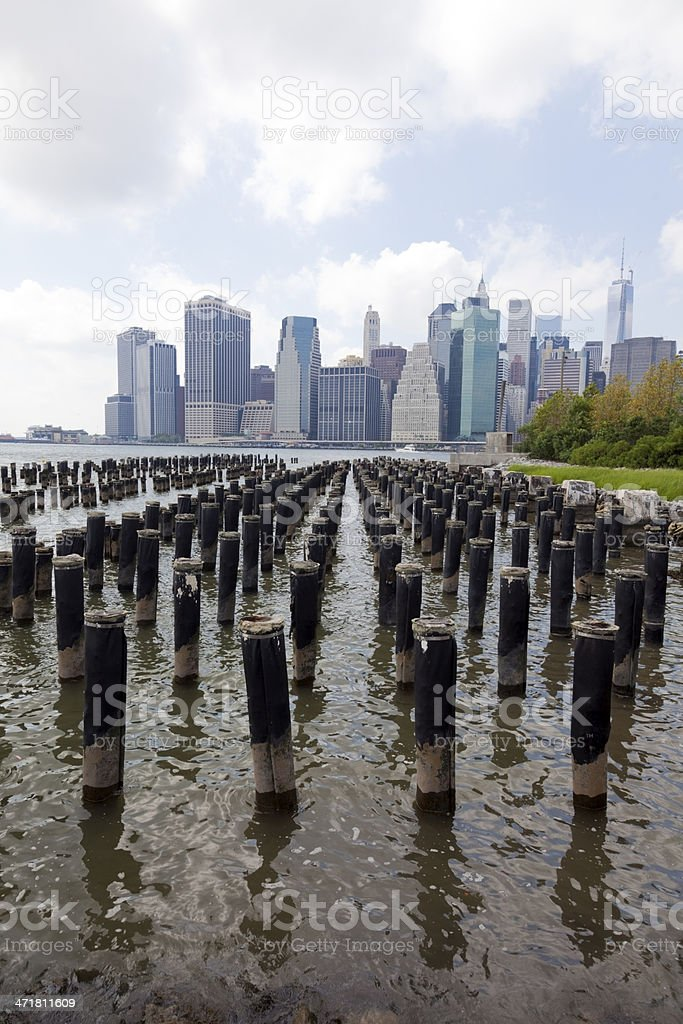 Skyline and Pilings royalty-free stock photo