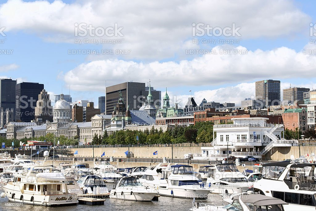 Skyline and Port of Montreal stock photo