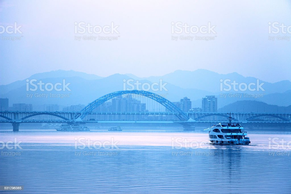 skyline and qiantang river under  sunset in hangzhou stock photo