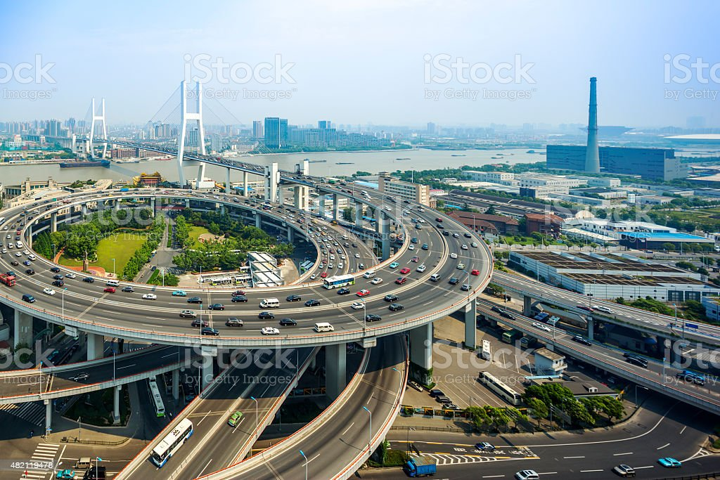 skyline and road intersection in shanghai stock photo