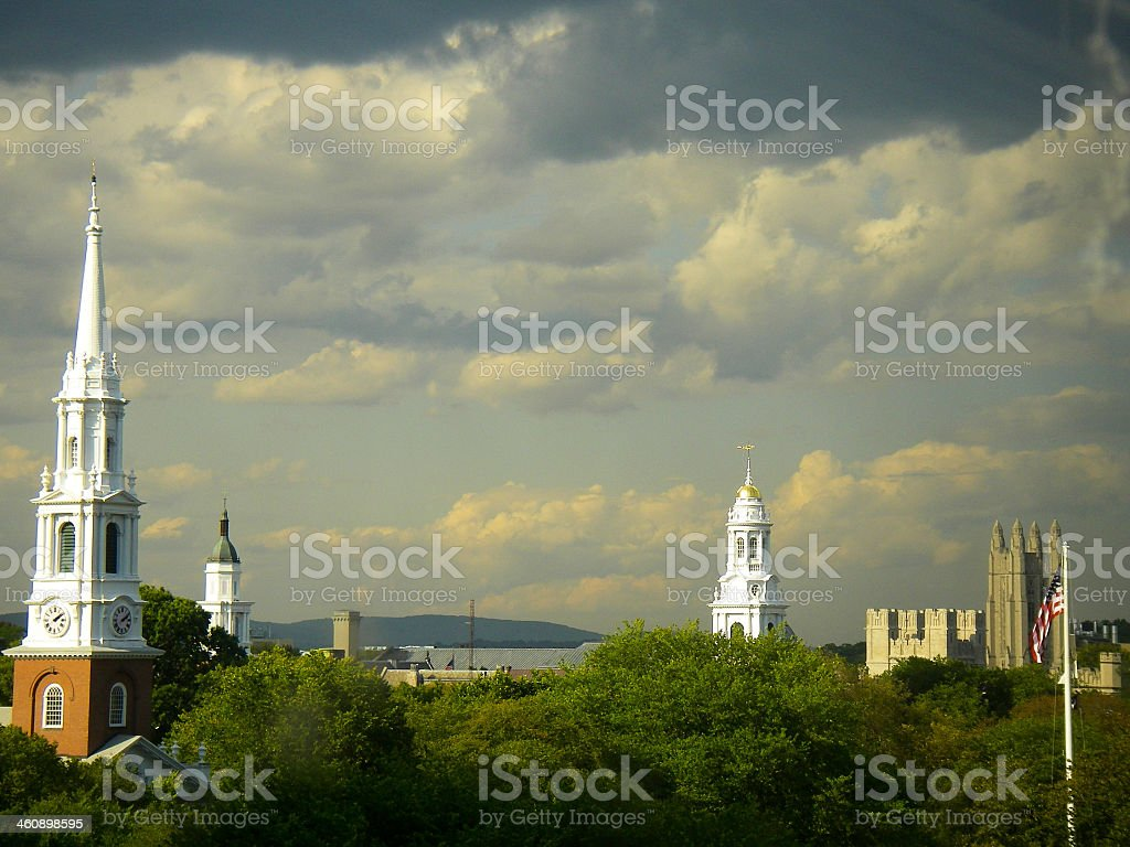 Skyline and Storm Clouds over New Haven Connecticut stock photo