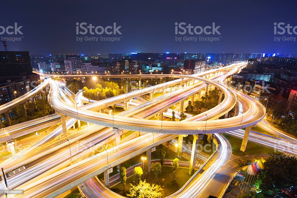 skyline and traffic,flyover in modern city. stock photo
