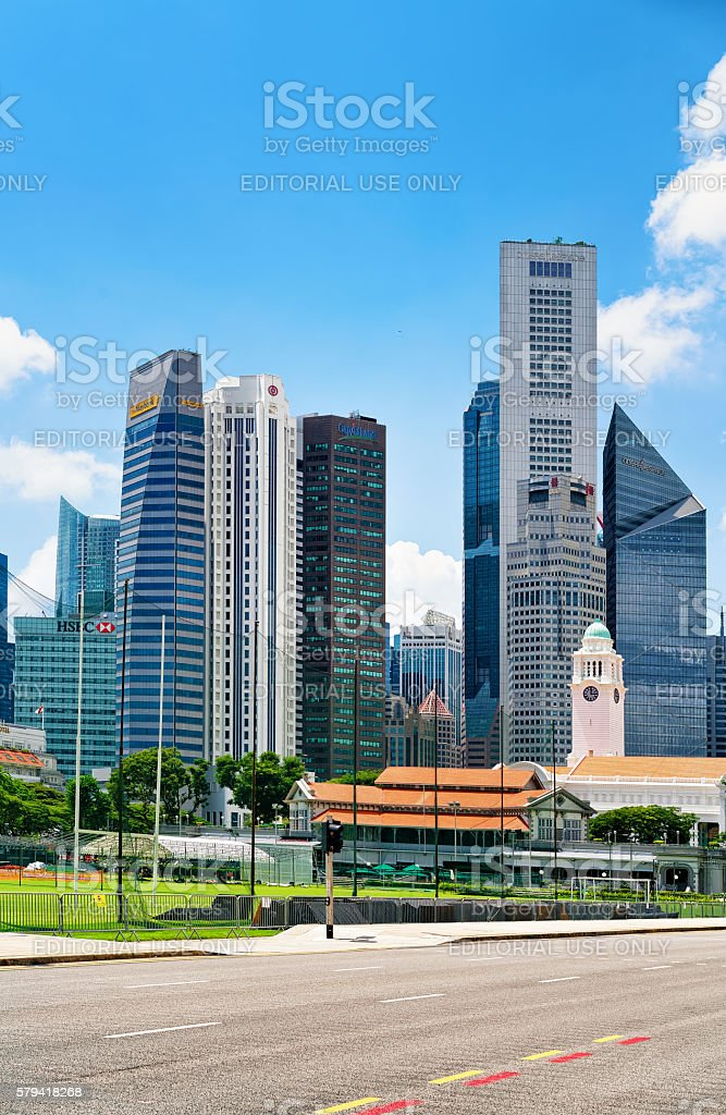 Skyline and Victoria Theater and concert Hall of Singapore stock photo