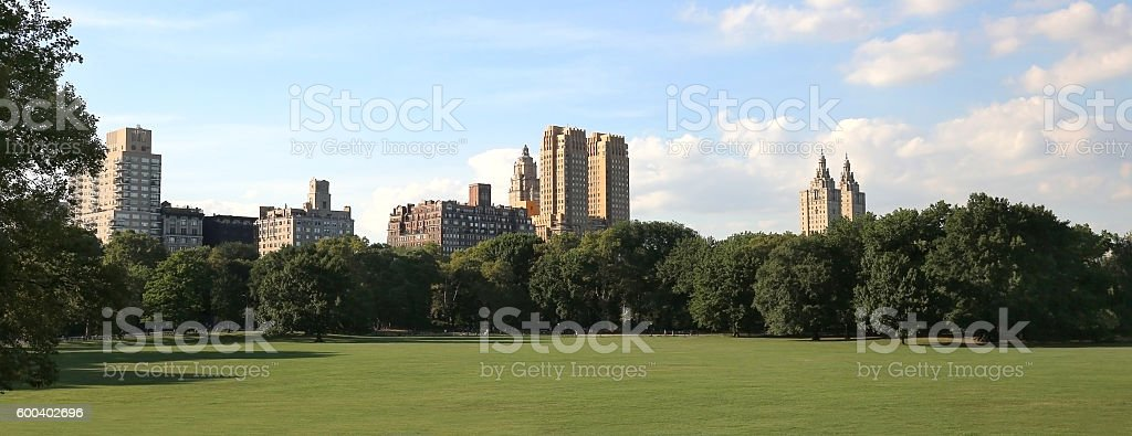 Skyline at Central Park in Manhattan, New York stock photo