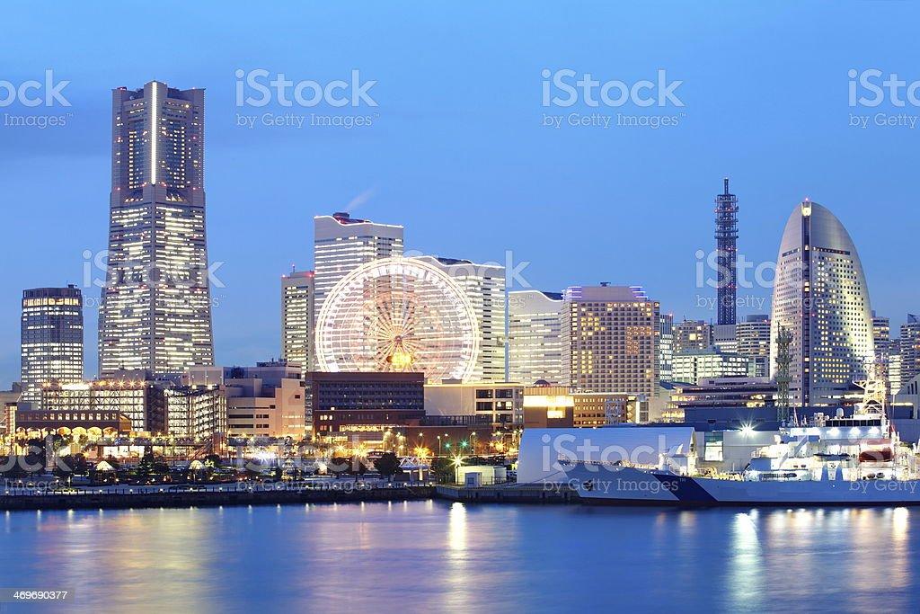 skyline at minato mirai area  night view, yokohama japan stock photo